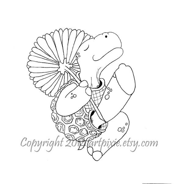 Tortuga bailando con una flor digistamp digi o sello digital | Etsy