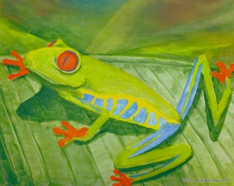 8x10 original acrylic painting on stretch canvas, tree frog on leaf. Wall art, original artwork, nature paintings, animal artwork, amphibian