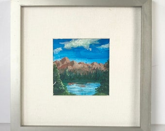 4x4 original oil painting framed to 9x9 mountain landscape with lake and trees, mini painting, matted
