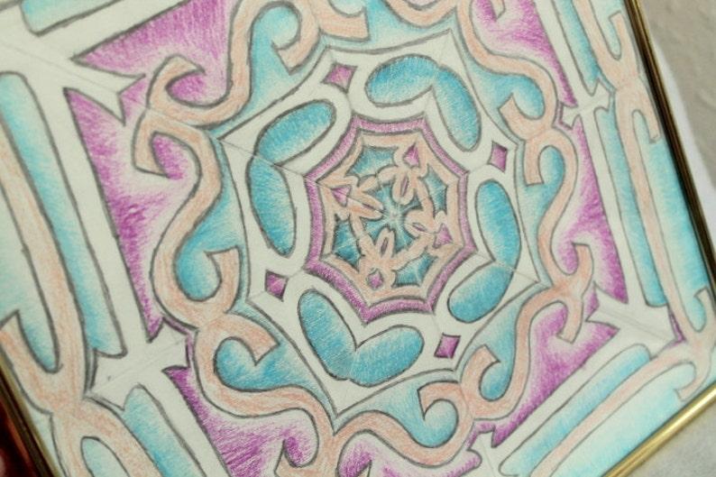 original framed calligram kallidescope word art gift idea blue pink and tan 12 x12 Music
