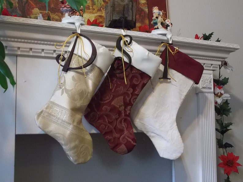 Christmas Stocking in White Satin with Glittery Gold