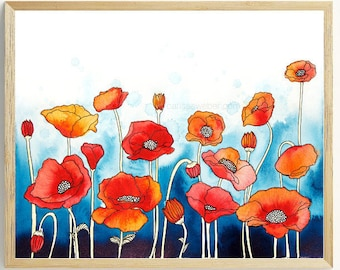 Poppies PRINT | Poppies watercolor painting |flowers, nature, botanical, poppy print, poppy flower, wall art, illustration, home decor