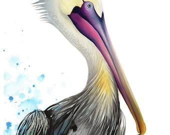 Pelican ORIGINAL | painting, watercolor pelican, beach house decor, coastal wall art, wildlife, coastal birds, beach decor, animals, nature