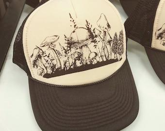 29e6b8e64a737 Mushroom Trucker Hat Meadow Foray