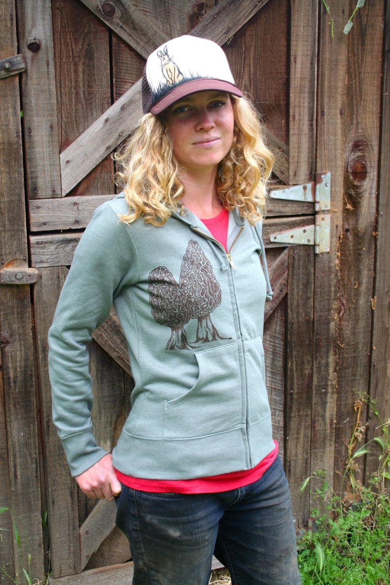 Zip Hoodie Sweatshirt Morel Mushroom Women/'s Green Screen Printed Organic Cotton Recycled