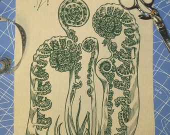 Patch Sew On Fiddlehead Fern Nature Screen Print Natural Cotton Duck