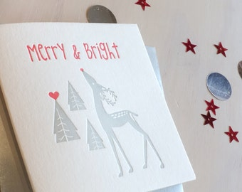 Letterpress Christmas card, Merry & Bright in silver. White Christmas, Classic Rudolph, Christmas pine trees, Made in Australia