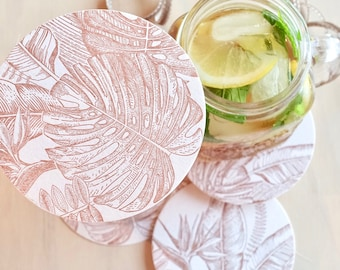 Tropical paradise coasters table decorations, destination wedding, monstera leaves, tropical leaves wedding decor, coctail party decoration