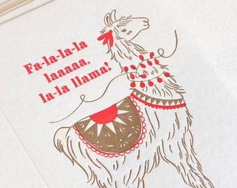 Christmas card Llama, letterpress, animal lover, cute, punny, xmas carole, deck the halls, holiday card for him, holiday card for anyone