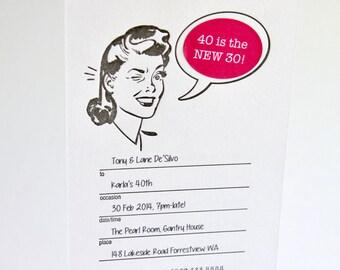Fill in the blanks, Retro party invitation, letterpress, Kitchen tea, hen's night, birthday, Customize speech bubble, 10 cards 10 envelopes