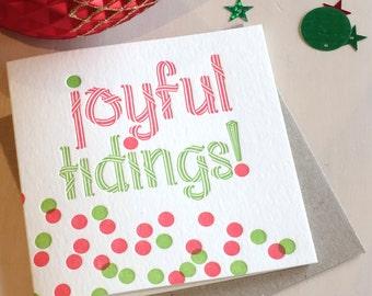 Christmas card confetti, Letterpress holiday card, Joyful tidings letterpress Christmas Card, red and green polkadots and spots card