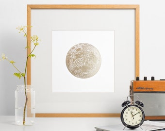 Lunar wall decor, Letterpress full moon, gold moon print, lunar, art print, wall decor, full moon shiny gold lunar very limited edition