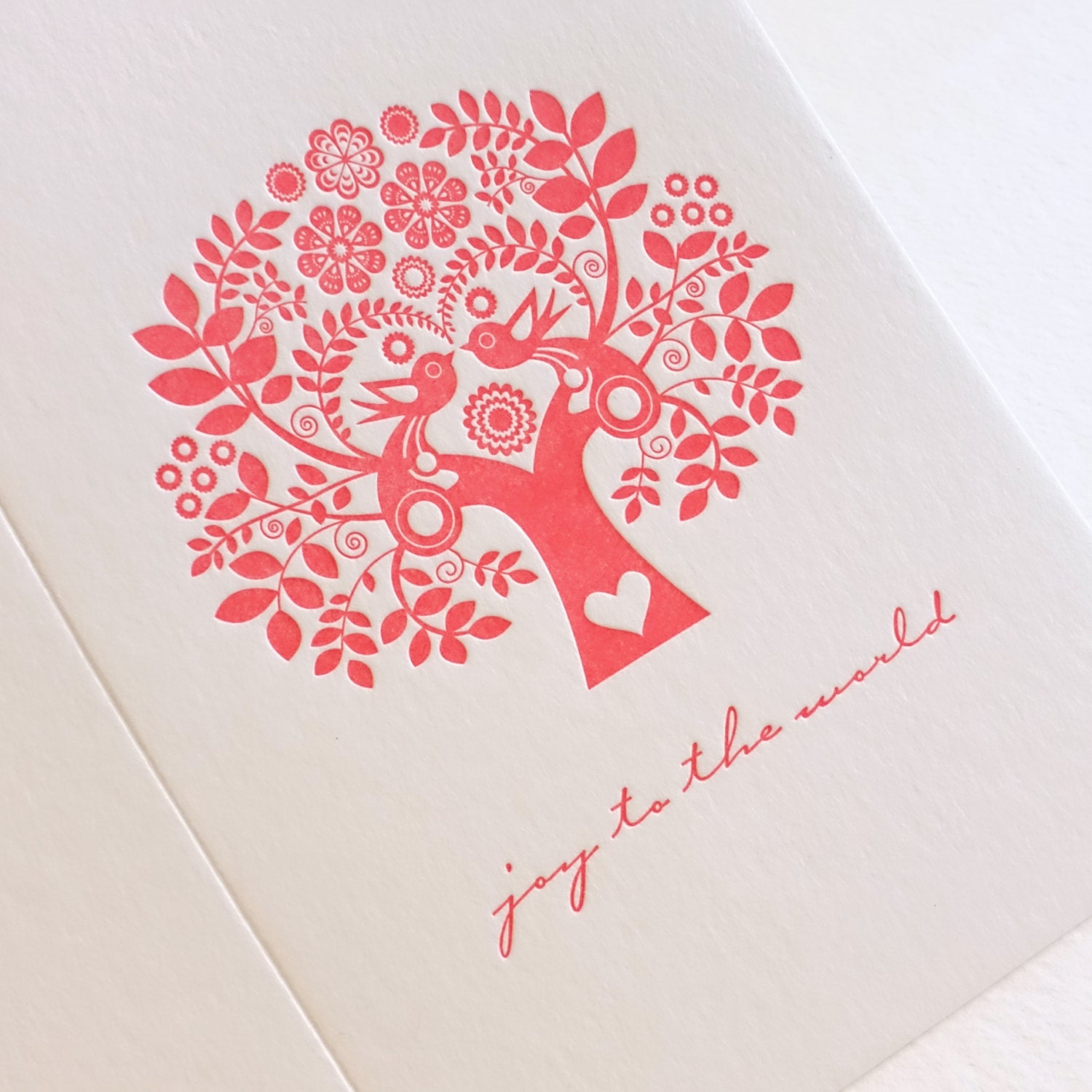 Joy To the World Letterpress Christmas holiday Card