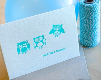 Cute Owl letterpress birthday card in turquoise, celebration,  Hoot Hoot Hooray - quirky fun animal card. Card for kids, All occasion card