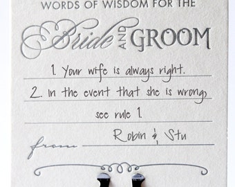 Wedding table decor, table decoration, fun coasters, Advice for the bride and groom wedding Letterpress Coasters, guest book alternative