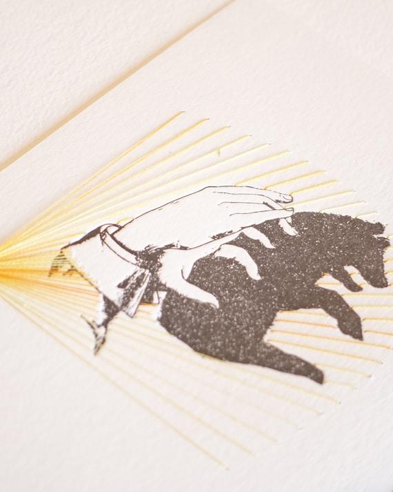 very limited edition LORIKEET hand stitched Bird print mixed media wall art Letterpress hand shadow puppet print stitching textile art