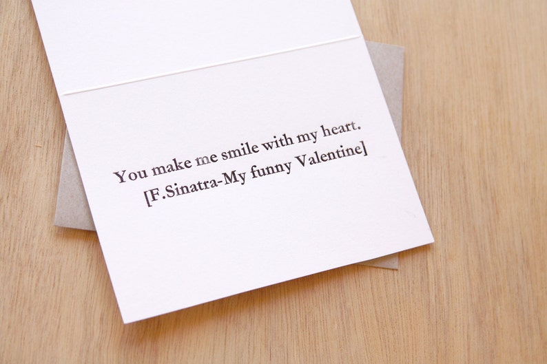 Mothers day Father's Day card Song lines Letterpress image 0