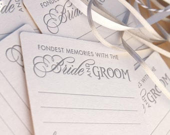 Fondest memories with the bride and groom, wedding Letterpress Coasters, guest book alternative, fun wedding - gold or silver