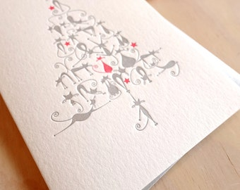 pet pamperer card, Cat card, card for cat lover, Letterpress Christmas card, Cute Christmas Cats, cats Christmas tree. Crazy cat lady