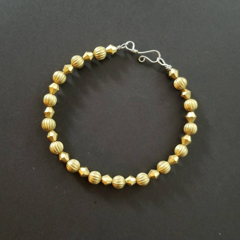 with handmade clasp Free shipping. Matte gold beaded wire bangle