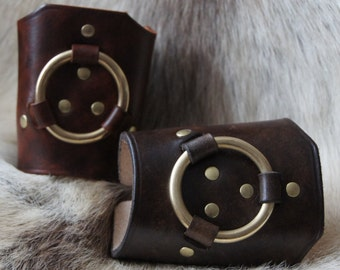 Leather Cuff with brass Ring