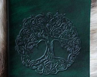 Hand carved Tree of Life A5 Leather Journal