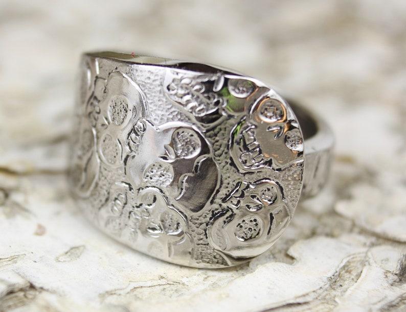 Spoon Ring Skull Ring Silverware Jewelry Skeleton Ring image 0