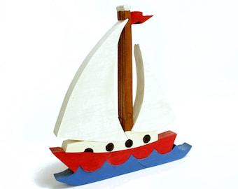 BrkBls - Sailboat Decor, Ocean Theme Nursery, Wood Toy, Sailboat Toy, Boat Toy, Kids Toy, Kids Puzzle, Kids Gift