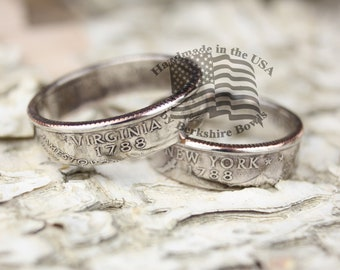 BrkBls - Polished Coin Ring, High Gloss Quarter Ring, State Quarter Ring, State Coin Ring, State Ring, Rustic Ring, Coin Jewelry, Rings,Ring