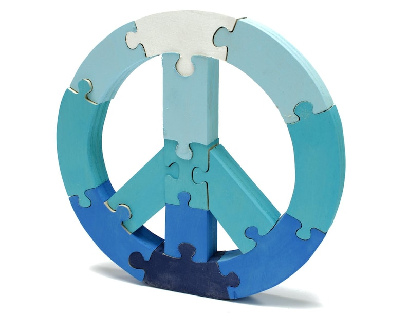 Blue Peace Sign Puzzle and Room Decor image 0