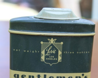 Vintage 1940s 1950s Lorie Los Angeles Gentlemen's After Shaving Powder 3 Oz Tin