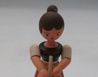 Vintage Hennig Handcrafted Dollhouse Wooden Milkmaid Miniature Figure Made in Erzgebirgische Germany
