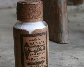Antique Vintage Early 1900s Karlsbader Sprudelsalz Carlsbad Mineral Salts Apothecary Pharmacy Full Bottle