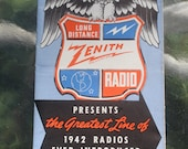 Vintage 1940s Zenith Presents the Greatest Line of 1942 Radios and Phonographs Ever Introduced for Real Pleasure Advertising Brochure