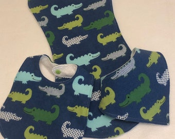 Blue Alligators Baby Bib Burp Cloth Gift Set /Create Your Own Baby Shower Gift FREE SHIPPING