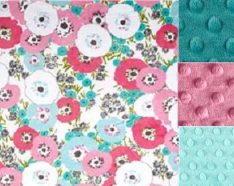 Personalized Minky Baby Blanket Flower Blossoms /Stroller Blanket/Lovey/Taggie/ Shower Gift FREE SHIPPING