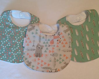 Baby Girl Bib/Burp Cloth Gift Set/ Little Ones Woodland/Arrows/Baby Shower Gift