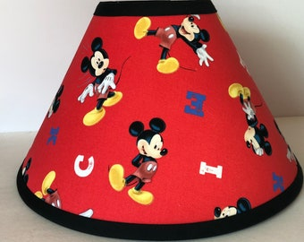Disney Mickey Mouse Red Fabric Children's Lamp Shade/Children's Gift FREE SHIPPING