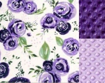 Personalized Purple Rose Minky Baby Blanket/Stroller Blanket/Lovey/Taggie/Baby Gift/ FREE SHIPPING