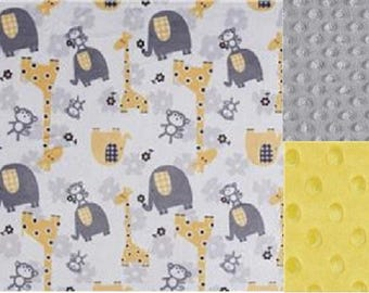 Personalized Baby Minky Blanket Giraffes & Elephants/Stroller Blanket/Lovey/Taggie/Baby Gift FREE SHIPPING