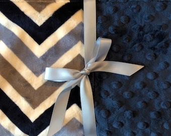 Personalized Minky Baby Blanket Blue & Gray Chevron/Stroller Blanket/Lovey/Taggie/Baby Gift FREE SHIPPING