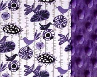 Personalized Minky Baby Blanket Purple Birds/Stroller Blanket/Lovey/Taggie/Baby Shower Gift FREE SHIPPING