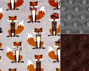 Personalized Foxes Minky Baby Blanket /Stroller Blanket/Lovey/Taggie/Baby Shower Gift FREE SHIPPING
