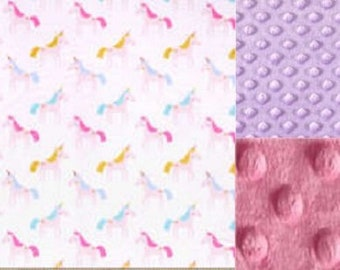 Personalized Unicorns Minky Baby Blanket /Stroller Blanket/Lovey/Taggie/Baby Shower Gift FREE SHIPPING
