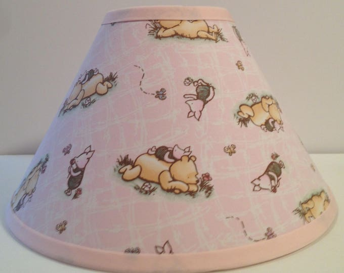 Featured listing image: Classic Winnie the Pooh Pink Fabric Nursery Lamp Shade/Baby Shower Gift/Lampshade/Baby Gift FREE SHIPPING