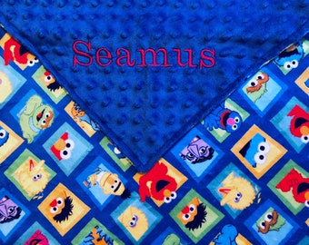 Personalized Minky Sesame Street Baby Blanket /Lovey/Taggie/ Stroller Blanket/Shower Gift FREE SHIPPING