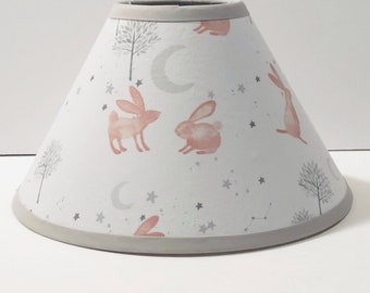 Pink Forest Bunny Nursery Fabric Lamp Shade/Children's Gift FREE SHIPPING