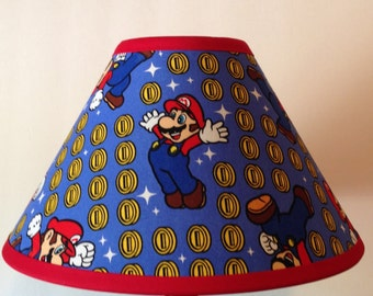 Super Mario Coin Toss Fabric Childrens Lamp Shade/Children's Gift FREE SHIPPING