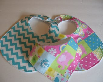Baby Girl Bib/Burp Cloth Gift Set /Pink Patchwork Elephant/Create Your Own Set/ Baby Shower Gift