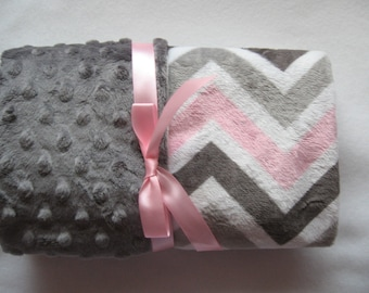 Personalized Minky Baby Blanket Pink Gray Chevron/Stroller Blanket/Lovey/Taggie/Baby Gift FREE SHIPPING